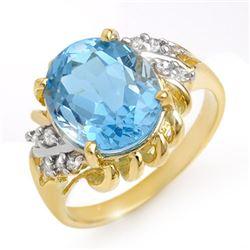 5.22 CTW Blue Topaz & Diamond Ring 10K Yellow Gold - REF-29K3W - 13265