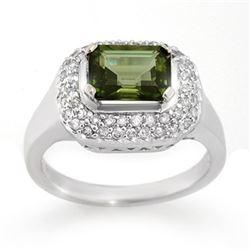 2.40 CTW Green Tourmaline & Diamond Ring 14K White Gold - REF-75F5N - 10625