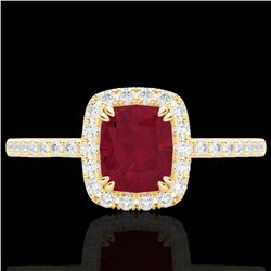 1.25 CTW Ruby & Micro Pave VS/SI Diamond Halo Ring 10K Yellow Gold - REF-34K2W - 22909