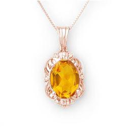 5.80 CTW Citrine & Diamond Necklace 10K Rose Gold - REF-44A9X - 10651