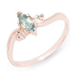 0.29 CTW Blue Topaz & Diamond Ring 14K Rose Gold - REF-16W4F - 12559