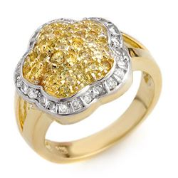 1.50 CTW Yellow Sapphire & Diamond Ring 14K Yellow Gold - REF-81K8W - 10407