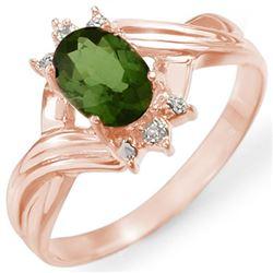 0.79 CTW Green Tourmaline & Diamond Ring 14K Rose Gold - REF-23Y8K - 11596