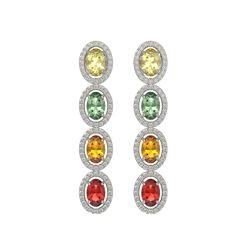 6.09 CTW Multi Color Sapphire & Diamond Halo Earrings 10K White Gold - REF-135F3N - 40550