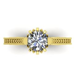 1 CTW Solitaire Certified VS/SI Diamond Ring 14K Yellow Gold - REF-287A3X - 38546