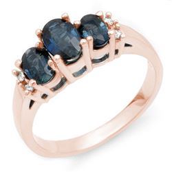 1.34 CTW Blue Sapphire & Diamond Ring 14K Rose Gold - REF-36W2F - 10536