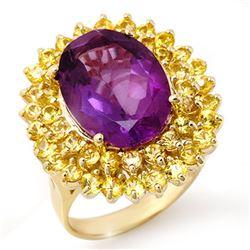 10.25 CTW Yellow Sapphire & Amethyst Ring 10K Yellow Gold - REF-67Y6K - 11737