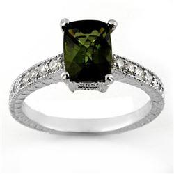 2.15 CTW Green Tourmaline & Diamond Ring 18K White Gold - REF-61N8Y - 11433