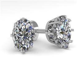 1.0 CTW VS/SI Oval Cut Diamond Stud Solitaire Earrings 18K White Gold - REF-178X2T - 35670