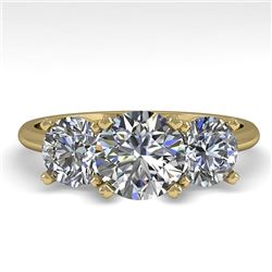 2 CTW VS/SI Diamond Past Present Future Designer Ring 18K Yellow Gold - REF-407M3H - 32464