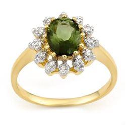 1.62 CTW Green Tourmaline & Diamond Ring 10K Yellow Gold - REF-34K9W - 11074