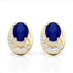 2.50 Sapphire & Micro VS/SI Diamond Stud Earrings 10K Yellow Gold - REF-25K6W - 22339