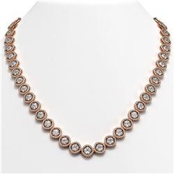 36.09 CTW Cushion Cut Diamond Designer Necklace 18K Rose Gold - REF-6687Y8K - 42858