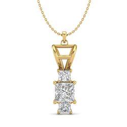 1.54 CTW Princess VS/SI Diamond Solitaire Art Deco Necklace 18K Yellow Gold - REF-418W2F - 37204
