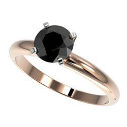 1.25 CTW Fancy Black VS Diamond Solitaire Engagement Ring 10K Rose Gold - REF-39X5T - 32907