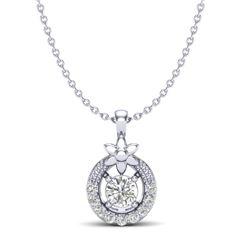 0.21 CTW Micro Pave VS/SI Diamond Halo Necklace 18K White Gold - REF-26H4A - 20364