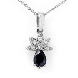 0.60 CTW Blue Sapphire & Diamond Pendant 18K White Gold - REF-21K8W - 13173