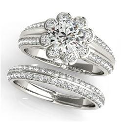 2.41 CTW Certified VS/SI Diamond 2Pc Wedding Set Solitaire Halo 14K White Gold - REF-590T8M - 31289