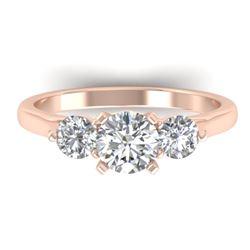1.37 CTW Certified VS/SI Diamond Art Deco 3 Stone Ring 14K Rose Gold - REF-212N9Y - 30484