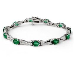 6.11 CTW Emerald & Diamond Bracelet 10K White Gold - REF-56M4H - 14305