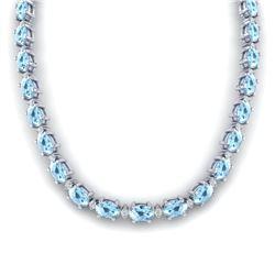 49.85 CTW Aquamarine & VS/SI Certified Diamond Eternity Necklace 10K White Gold - REF-494A2X - 29500