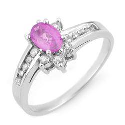 1.05 CTW Pink Sapphire & Diamond Ring 14K White Gold - REF-40M9H - 14203