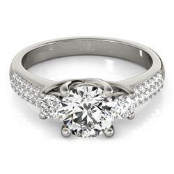 1.25 CTW Certified VS/SI Diamond 3 Stone Micro Pavering 18K White Gold - REF-225A3X - 28020