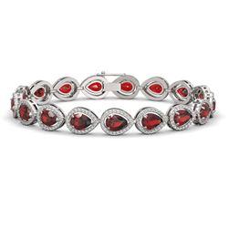 17.44 CTW Garnet & Diamond Halo Bracelet 10K White Gold - REF-272M2H - 41135