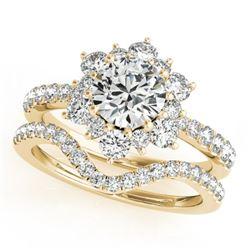 1.31 CTW Certified VS/SI Diamond 2Pc Wedding Set Solitaire Halo 14K Yellow Gold - REF-152W9F - 30941