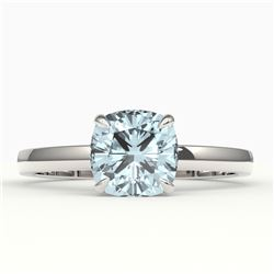 1.50 CTW Cushion Cut Sky Blue Topaz Solitaire Ring 18K White Gold - REF-33A3X - 22166