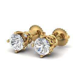 1.26 CTW VS/SI Diamond Solitaire Art Deco Stud Earrings 18K Yellow Gold - REF-209W3F - 37021
