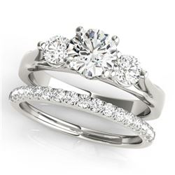 1.67 CTW Certified VS/SI Diamond 3 Stone 2Pc Wedding Set 14K White Gold - REF-255K6W - 32030