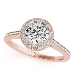 2.03 CTW Certified VS/SI Diamond Solitaire Halo Ring 18K Rose Gold - REF-619X6T - 26369