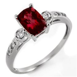 1.45 CTW Pink Tourmaline & Diamond Ring 10K White Gold - REF-28K9W - 11387