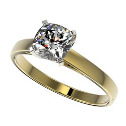 1 CTW Certified VS/SI Quality Cushion Cut Diamond Solitaire Ring 10K Yellow Gold - REF-297T2M - 3299