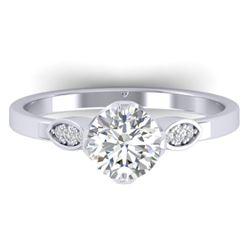 1.05 CTW Certified VS/SI Diamond Solitaire Art Deco Ring 14K White Gold - REF-278T8M - 30561
