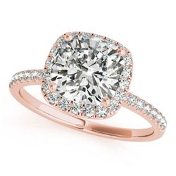 0.75 CTW Certified VS/SI Cushion Diamond Solitaire Halo Ring 18K Rose Gold - REF-136T4M - 27205