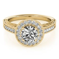 0.81 CTW Certified VS/SI Diamond Solitaire Halo Ring 18K Yellow Gold - REF-107M3H - 26520