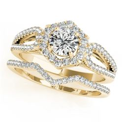 1.6 CTW Certified VS/SI Diamond 2Pc Wedding Set Solitaire Halo 14K Yellow Gold - REF-410X9T - 31156
