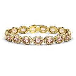 20.18 CTW Morganite & Diamond Halo Bracelet 10K Yellow Gold - REF-377X3T - 40615