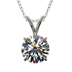 1.01 CTW Certified H-SI/I Quality Diamond Solitaire Necklace 10K White Gold - REF-147A2X - 36753