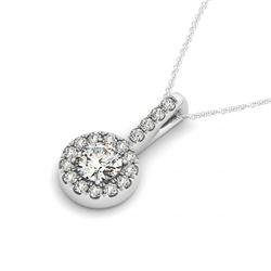1.6 CTW VS/SI Diamond Solitaire Halo Necklace 14K White Gold - REF-387H2A - 30034