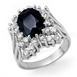 5.15 CTW Blue Sapphire & Diamond Ring 14K White Gold - REF-120K9W - 13505