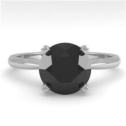 2.0 CTW Black Diamond Engagement Designer Ring 14K White Gold - REF-60H4A - 38476