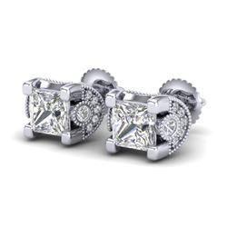 2.5 CTW Princess VS/SI Diamond Art Deco Stud Earrings 18K White Gold - REF-642H2A - 37151