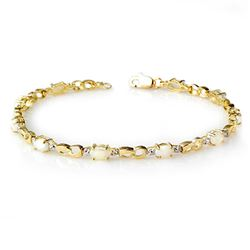 1.26 CTW Opal & Diamond Bracelet 10K Yellow Gold - REF-28W2F - 13024