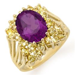 5.0 CTW Yellow Sapphire & Amethyst Ring 10K Yellow Gold - REF-52H8A - 11774