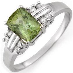 1.41 CTW Green Tourmaline & Diamond Ring 10K White Gold - REF-30Y4K - 10518