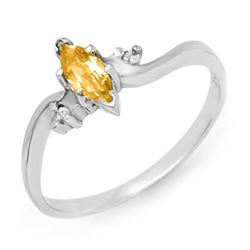 0.29 CTW Citrine & Diamond Ring 18K White Gold - REF-22W9F - 12348