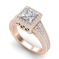 3.5 CTW Princess VS/SI Diamond Solitaire Micro Pave Ring 18K Rose Gold - REF-581K8W - 37167